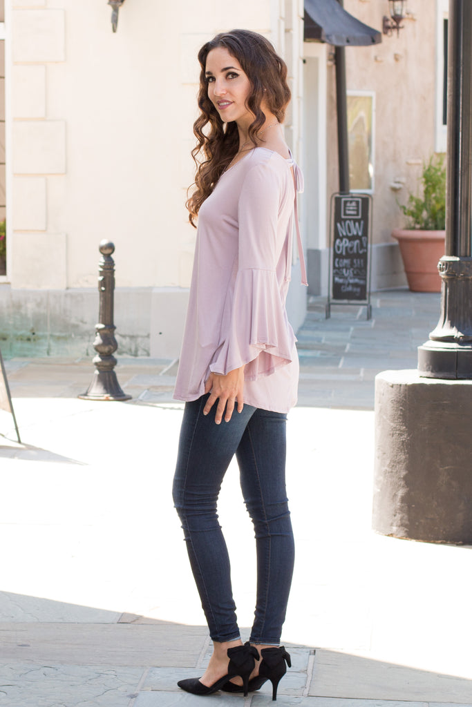 Purple V-Neck Bell Sleeve Top with Back Tie Fullbody Left Side View