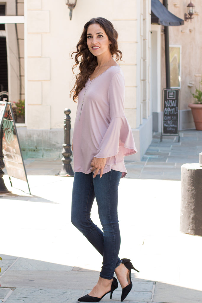 Purple V-Neck Bell Sleeve Top with Back Tie Fullbody Front Left View