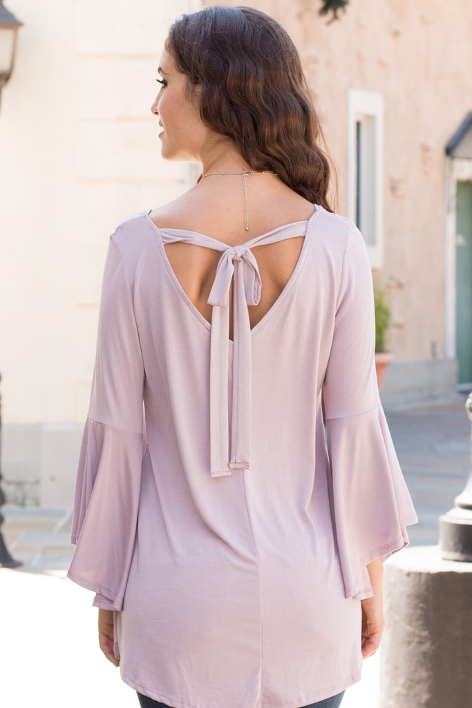 Purple V-Neck Bell Sleeve Top with Back Tie Back Close Up