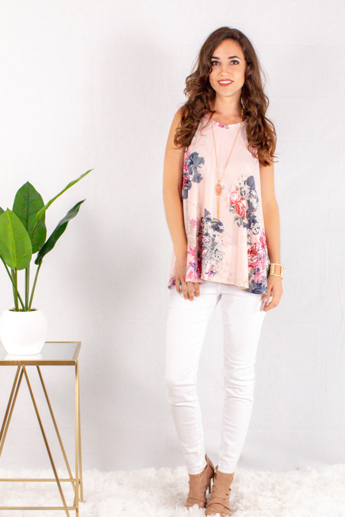 Light Pink Floral Halter Tank with White Skinny Jeans Front View 1