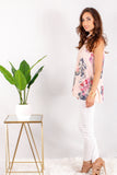 Light Pink Floral Halter Tank with White Skinny Jeans Side View