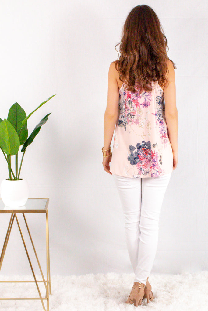 Light Pink Floral Halter Tank with White Skinny Jeans Back View