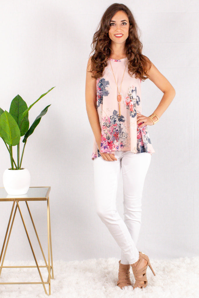 Light Pink Floral Halter Tank with White Skinny Jeans Front View 2