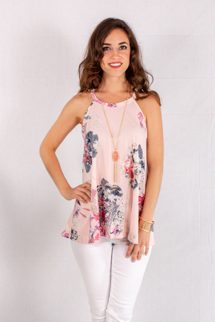 Light Pink Floral Halter Tank Front Close Up