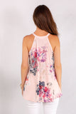 Light Pink Floral Halter Tank Back Close Up