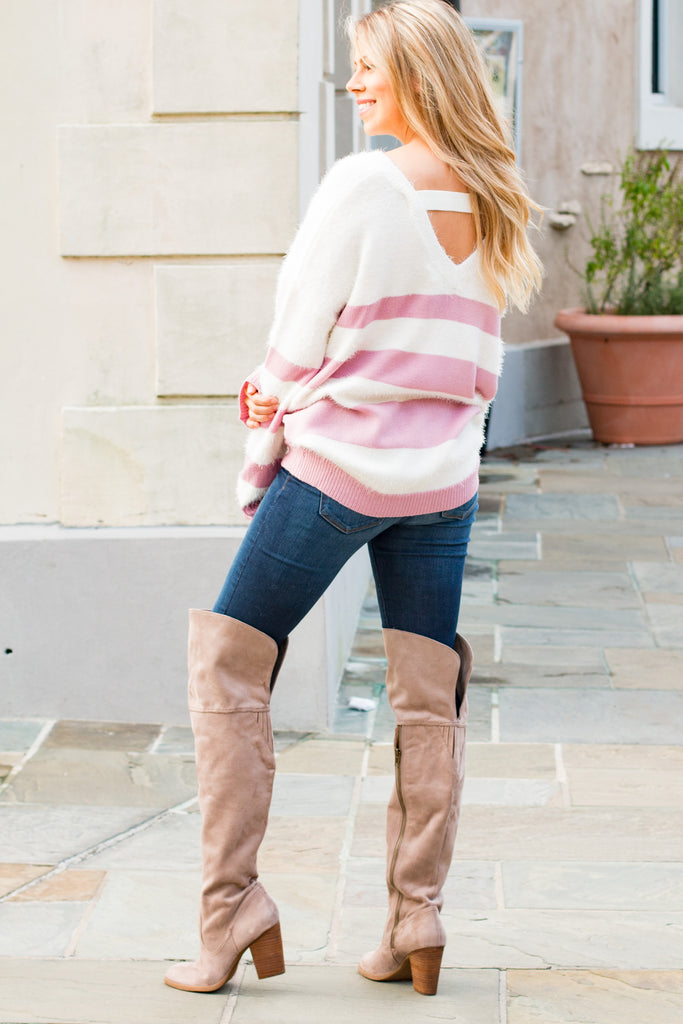 Eesome Pink and White Striped Eyelash Sweater with Back Cutout (Fullbody Half Back)