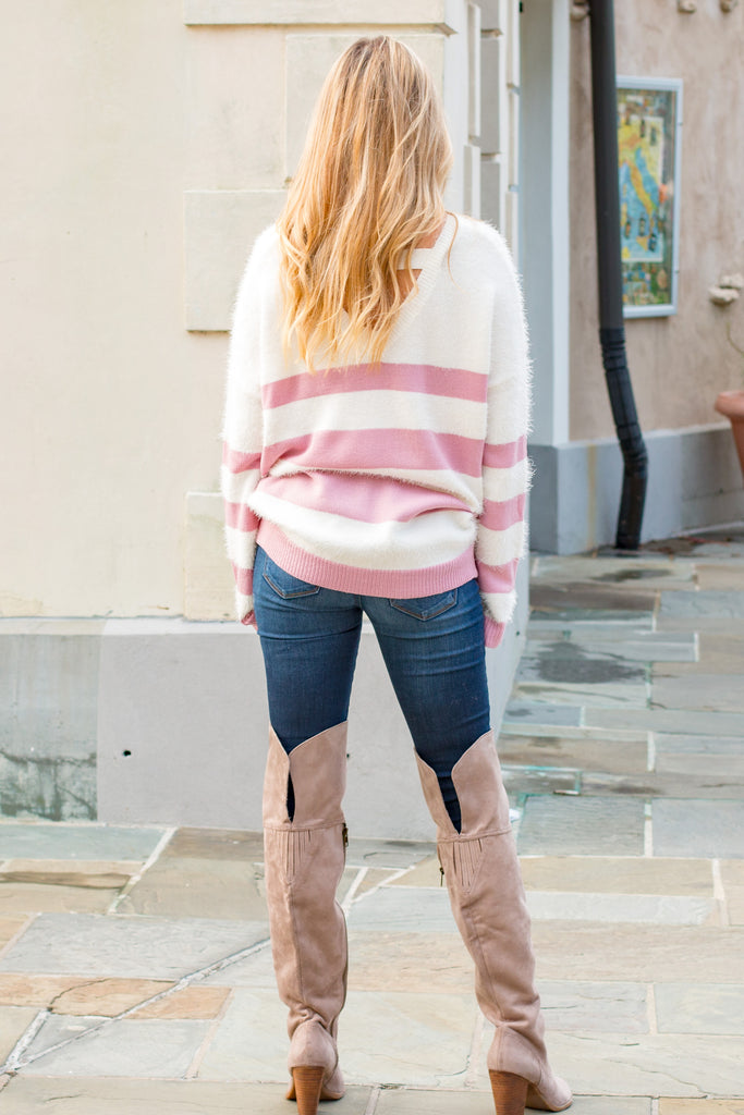 Eesome Pink and White Striped Eyelash Sweater with Back Cutout (Fullbody Back W/ Hair)