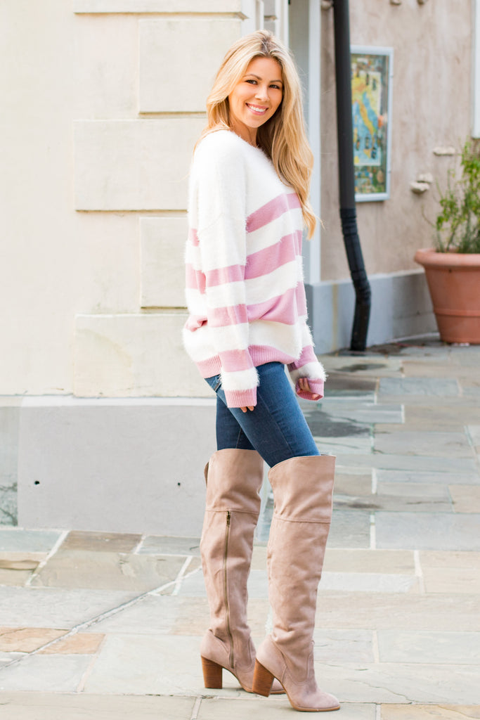 Eesome Pink and White Striped Eyelash Sweater with Back Cutout (Fullbody Right Side)