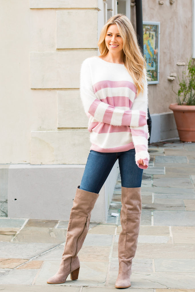 Eesome Pink and White Striped Eyelash Sweater with Back Cutout (Fullbody Front 2)