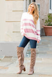 Eesome Pink and White Striped Eyelash Sweater with Back Cutout (Fullbody Front)
