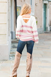 Eesome Pink and White Striped Eyelash Sweater with Back Cutout (Fullbody Back)