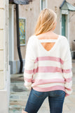 Eesome Pink and White Striped Eyelash Sweater with Back Cutout (Back Closeup)