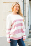 Eesome Pink and White Striped Eyelash Sweater with Back Cutout (Front Right Closeup)