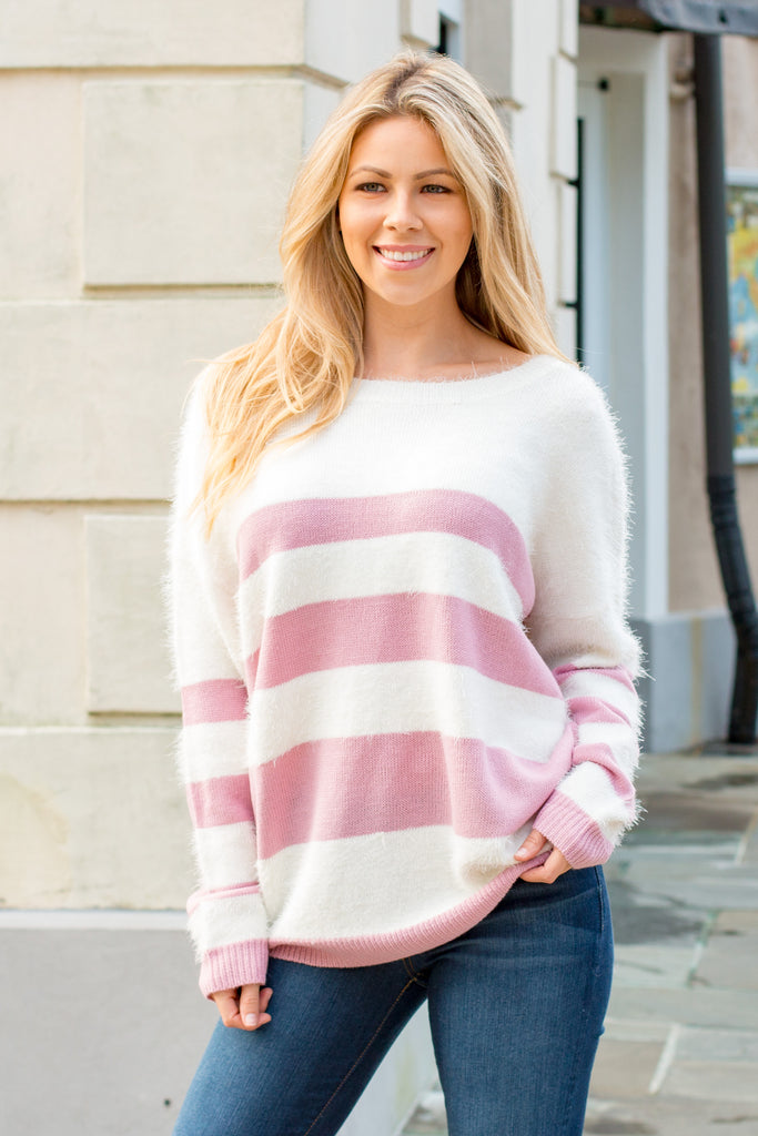 Eesome Pink and White Striped Eyelash Sweater with Back Cutout