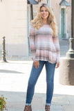 Peach and Taupe Hues Striped Long Sleeve Shirt with Ruffle Dip Hem Fullbody Front View