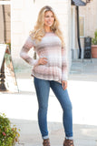 Peach and Taupe Hues Striped Long Sleeve Shirt with Ruffle Dip Hem Fullbody Front Right View