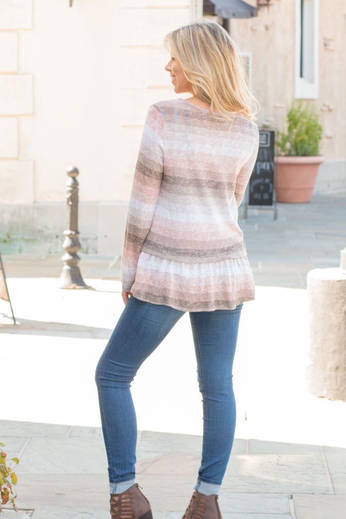 Peach and Taupe Hues Striped Long Sleeve Shirt with Ruffle Dip Hem Fullbody Back View