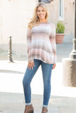 Peach and Taupe Hues Striped Long Sleeve Shirt with Ruffle Dip Hem Fullbody Front 2