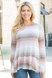 Peach and Taupe Hues Striped Long Sleeve Shirt with Ruffle Dip Hem Close Up Front