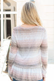 Peach and Taupe Hues Striped Long Sleeve Shirt with Ruffle Dip Hem Close Up Back