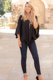 Black V-Neck Bell Sleeve Blouse with Tie Front Fullbody Front