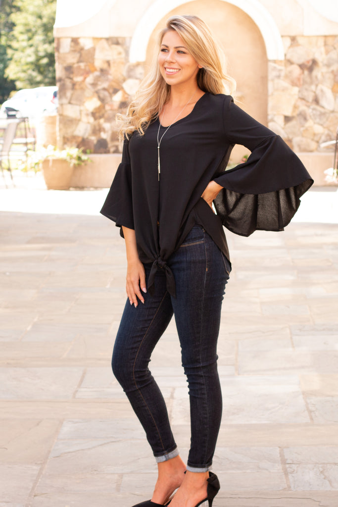 Black V-Neck Bell Sleeve Blouse with Tie Front Fullbody Front Left View