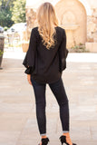 Black V-Neck Bell Sleeve Blouse with Tie Front Fullbody Back View