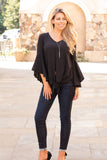 Black V-Neck Bell Sleeve Blouse with Tie Front Fullbody Front View 2