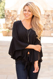Black V-Neck Bell Sleeve Blouse with Tie Front Close Up Front View