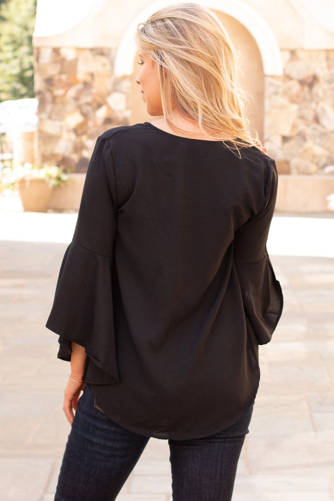 Black V-Neck Bell Sleeve Blouse with Tie Front Close Up Back