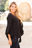 Black V-Neck Bell Sleeve Blouse with Tie Front Close Up Right Side