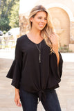 That's My Girl ♥ Tie Front Blouse- Black