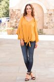 Yellow V-Neck Bell Sleeve Blouse with Tie Front Fullbody Front Legs Crossed