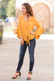 Yellow V-Neck Bell Sleeve Blouse with Tie Front Fullbody Front View
