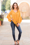 Yellow V-Neck Bell Sleeve Blouse with Tie Front Fullbody Front View 2