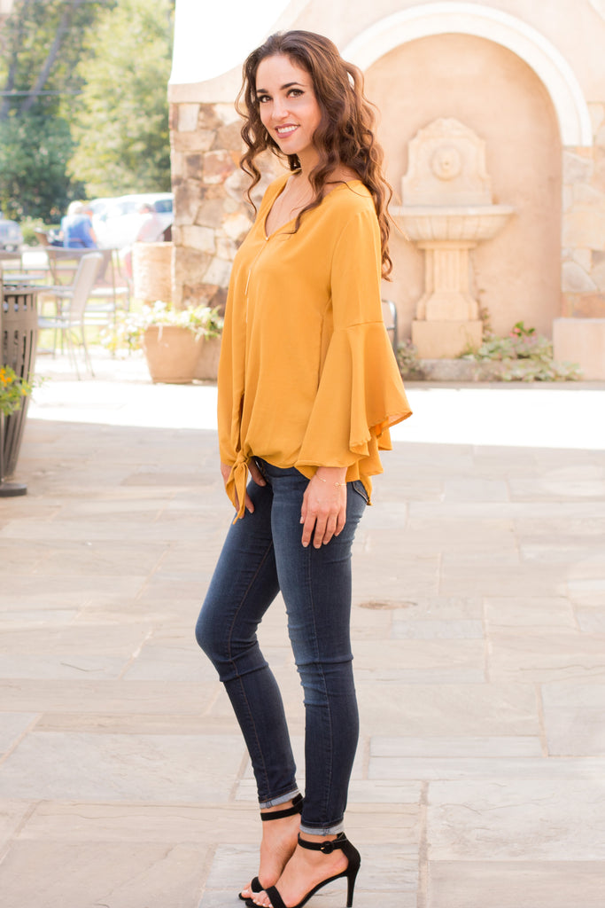 Yellow V-Neck Bell Sleeve Blouse with Tie Front Fullbody Left Side View