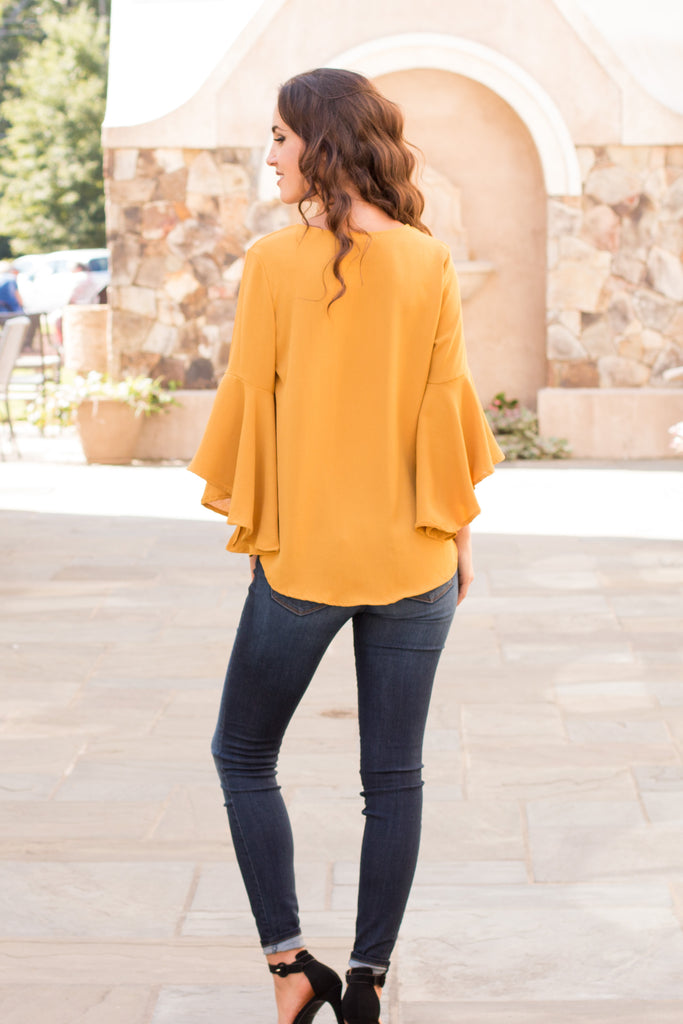 Yellow V-Neck Bell Sleeve Blouse with Tie Front Fullbody Back View