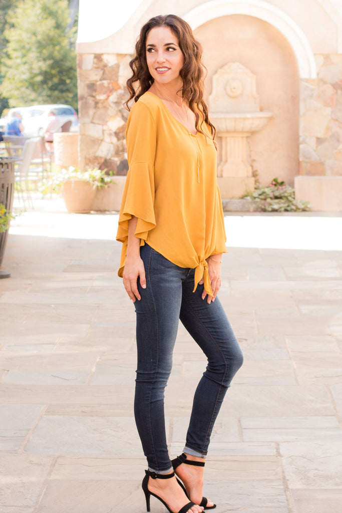 Yellow V-Neck Bell Sleeve Blouse with Tie Front Fullbody Right Side View