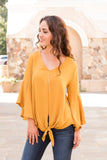 Yellow V-Neck Bell Sleeve Blouse with Tie Front Close Up Front