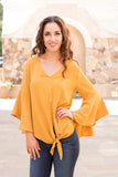 Yellow V-Neck Bell Sleeve Blouse with Tie Front Close Up Front View 2