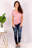 Pink V-Neck Twist Front T-Shirt and Skinny Jeans Front View