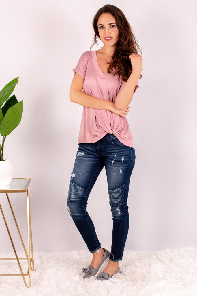 Pink V-Neck Twist Front T-Shirt and Skinny Jeans Front View 2