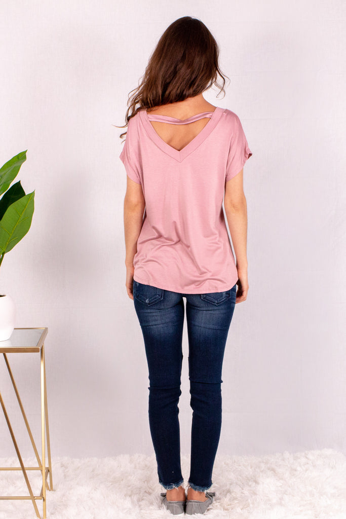 Pink V-Neck Twist Front T-Shirt and Skinny Jeans Back View
