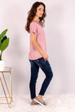 Pink V-Neck Twist Front T-Shirt and Skinny Jeans Side View 2