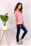 Pink V-Neck Twist Front T-Shirt and Skinny Jeans Side View 1
