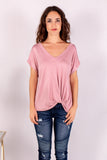 Pink V-Neck Twist Front T-Shirt Close Up