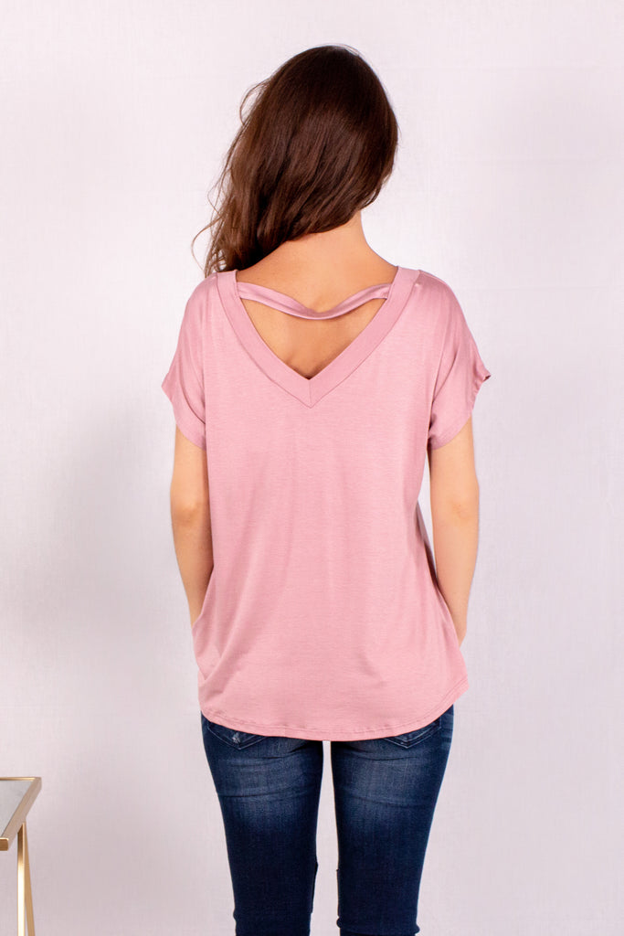 Pink V-Neck Twist Front T-Shirt Back Close Up