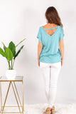 Teal V-Neck Twist Front Top with White Skinny Jeans Back View
