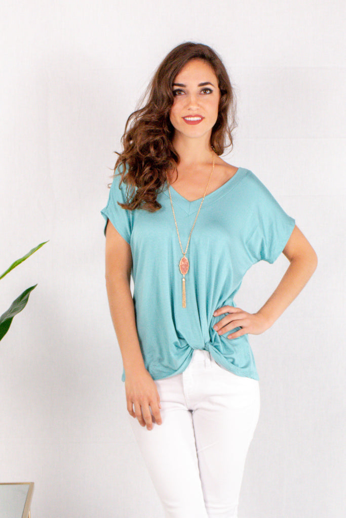 Teal V-Neck Twist Front Top Front View Close Up