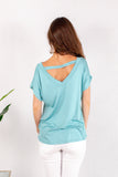 Teal V-Neck Twist Front Top Back View Close Up